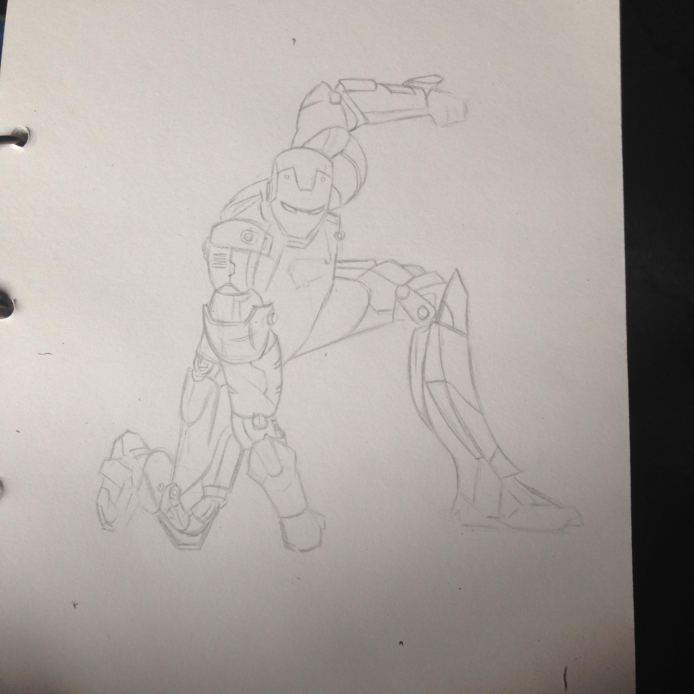 【练习】手绘钢铁侠|纯艺术|钢笔画|庚午 - 原创作品