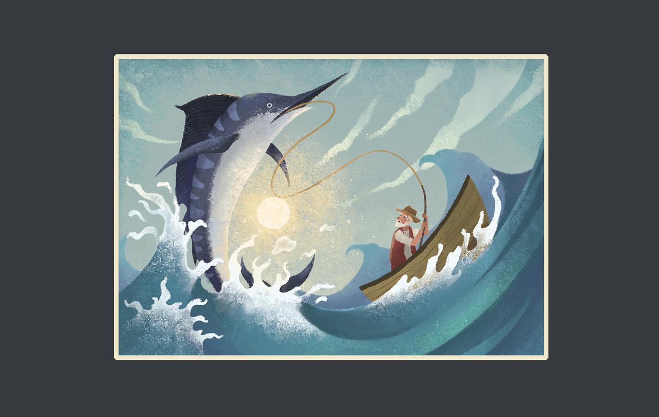 《老人与海》百词斩阅读计划罗雨舒插画电影雷神阳光图片