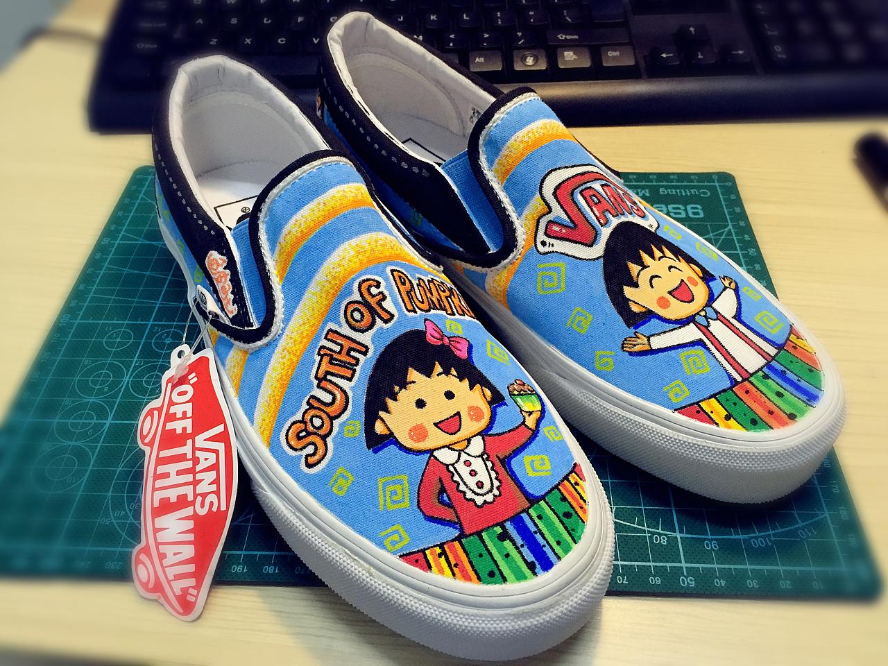 vans定制手绘鞋——樱桃小丸子系列!