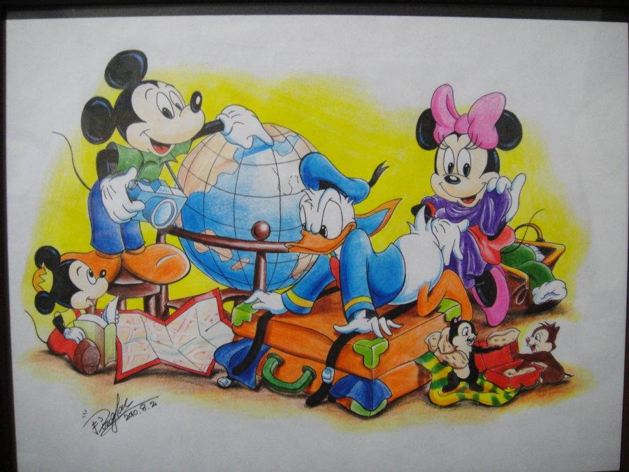 彩铅   帮朋友画的米奇,从没画过这种简笔画图片