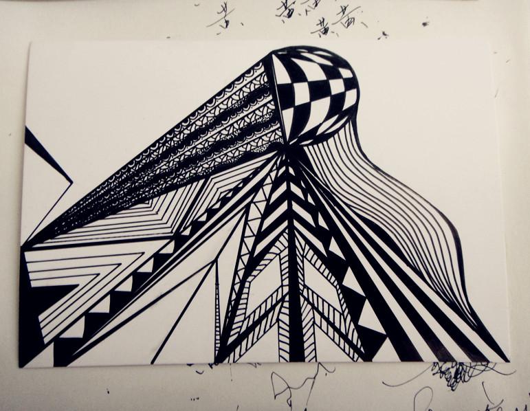 手绘黑白装饰画ii|绘画习作|插画|莹之森森