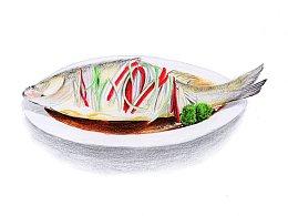 【驴大萌彩铅教程156】年夜饭系列——清蒸鲈鱼
