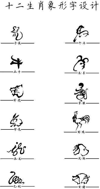 中国生肖象形文字练习