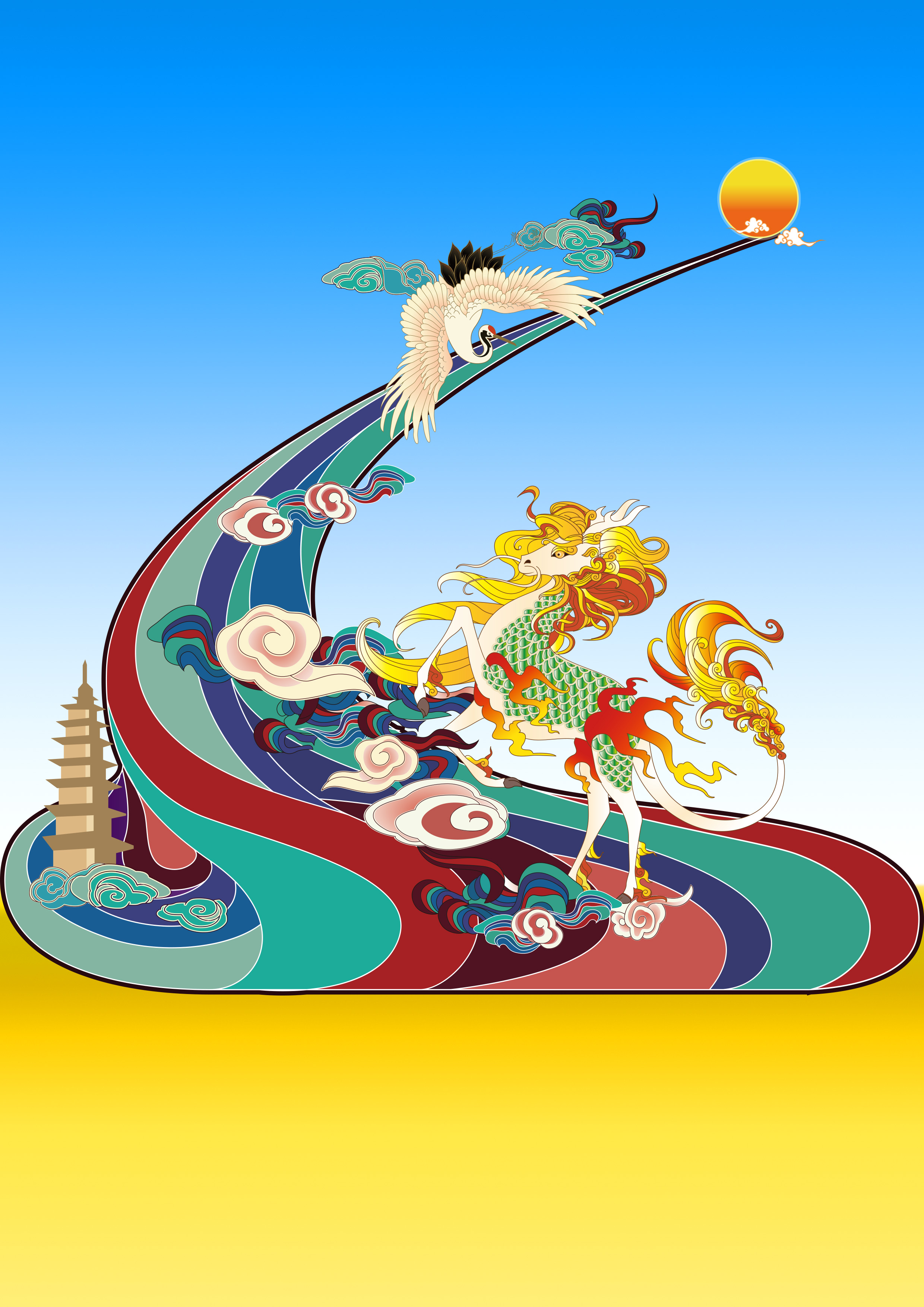 时尚活泼的手绘插画 展现出中国风的