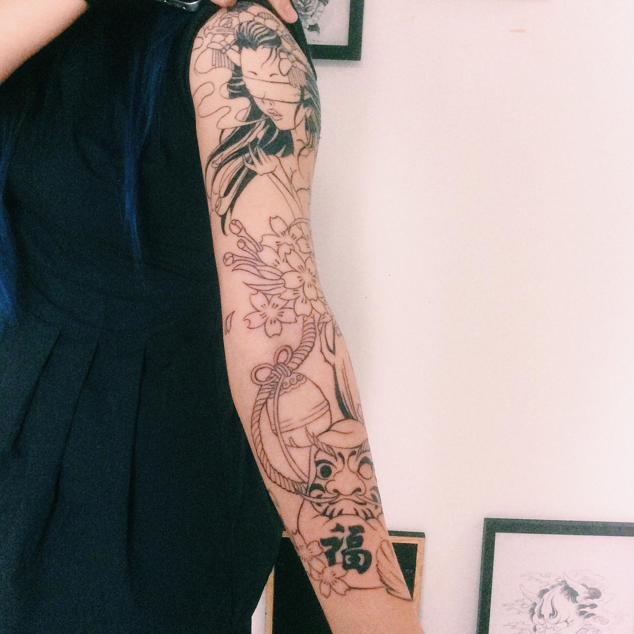 老徐的纹身作品-有艺妓的日式花臂|插画|涂鸦/潮流