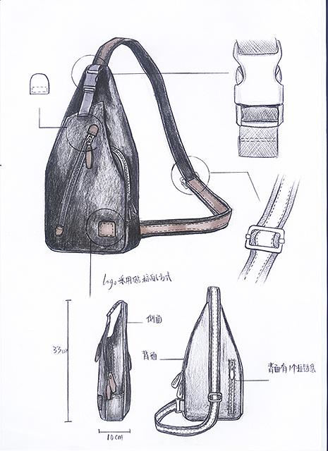 双肩包胸包手绘图
