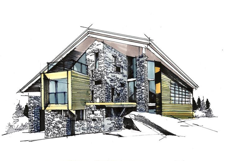 矿石小屋建筑手绘临摹图带线稿步骤和马克昆明手绘培训