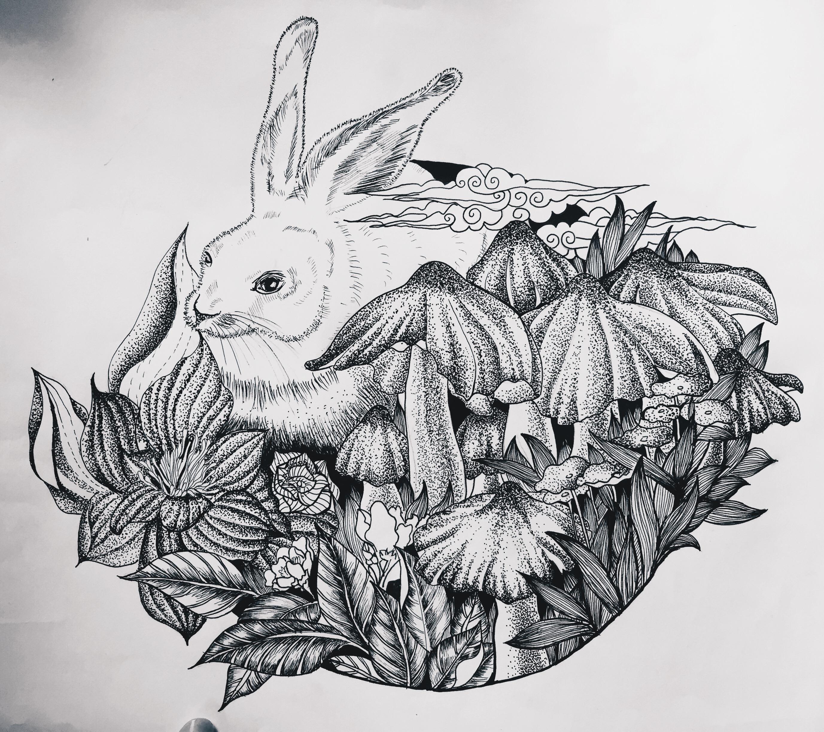 黑白创意插画