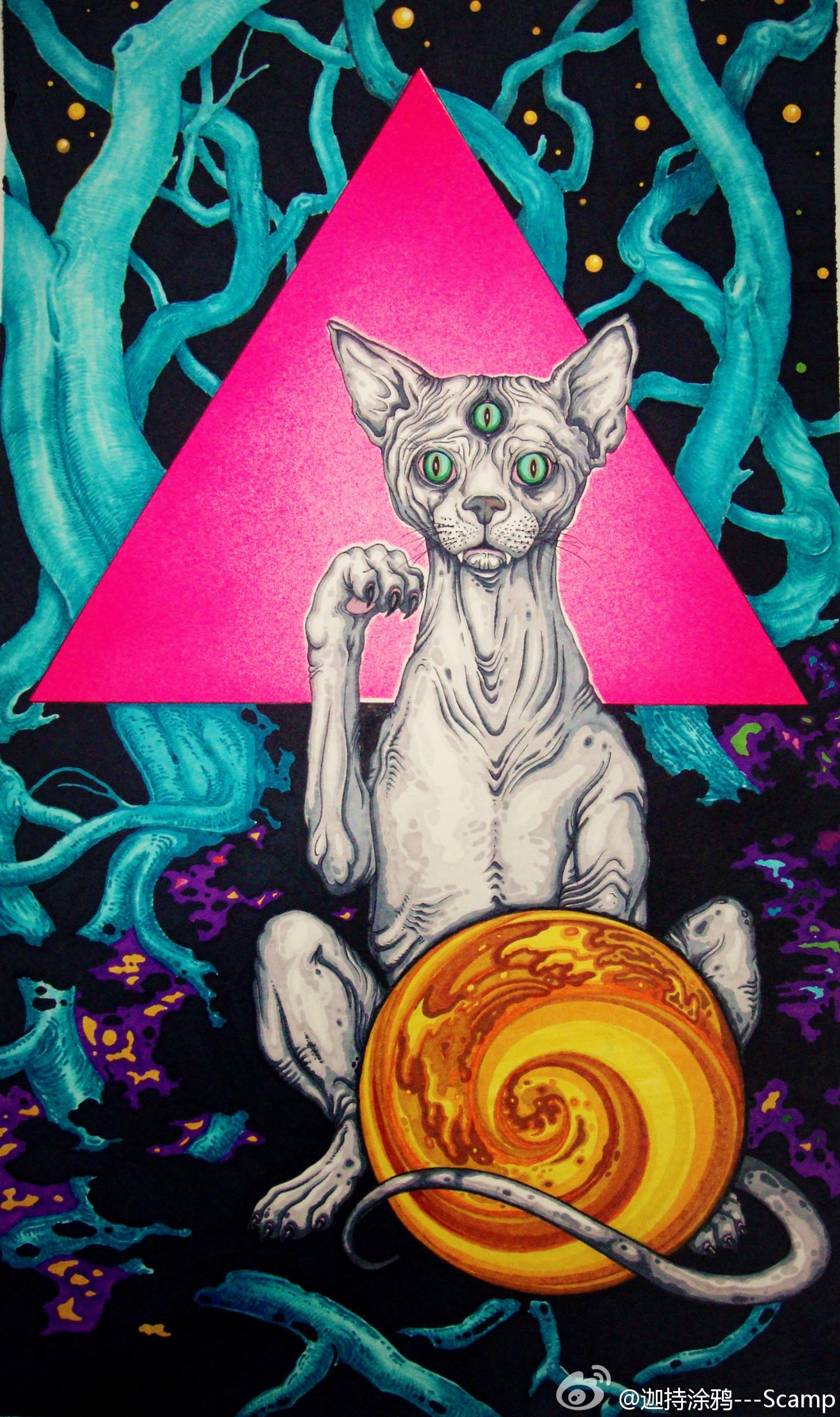 迦持创意手绘招财猫