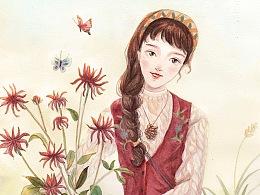 水彩-秋野花时