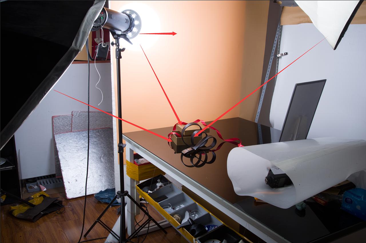 分享一张皮具拍摄布光流程图片