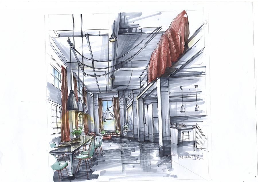 室内设计效果图马克笔手绘