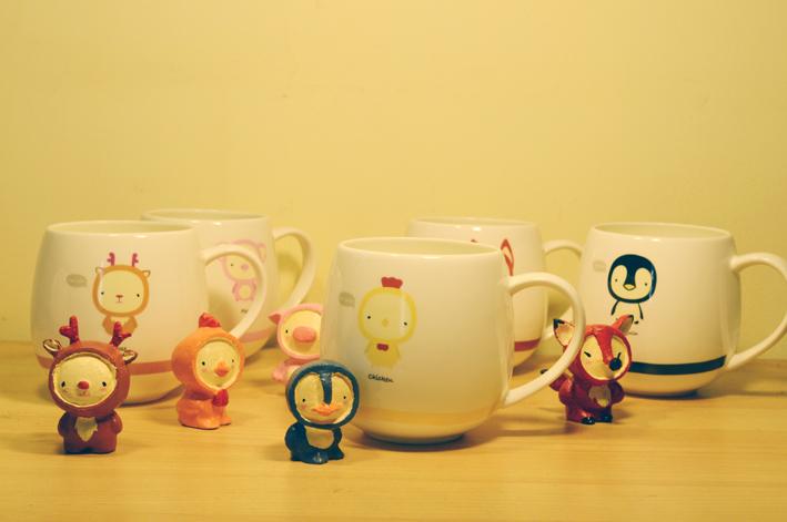 小动物泥塑与其形象的早餐杯|生活用品|工业/产品