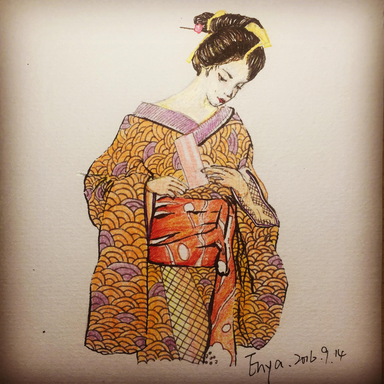日本艺妓.服装手绘作品,彩铅