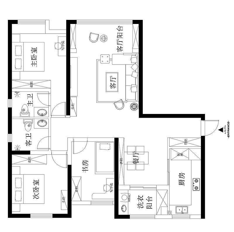 谦祥万和城装修效果图140平三室两厅——平面户型布局