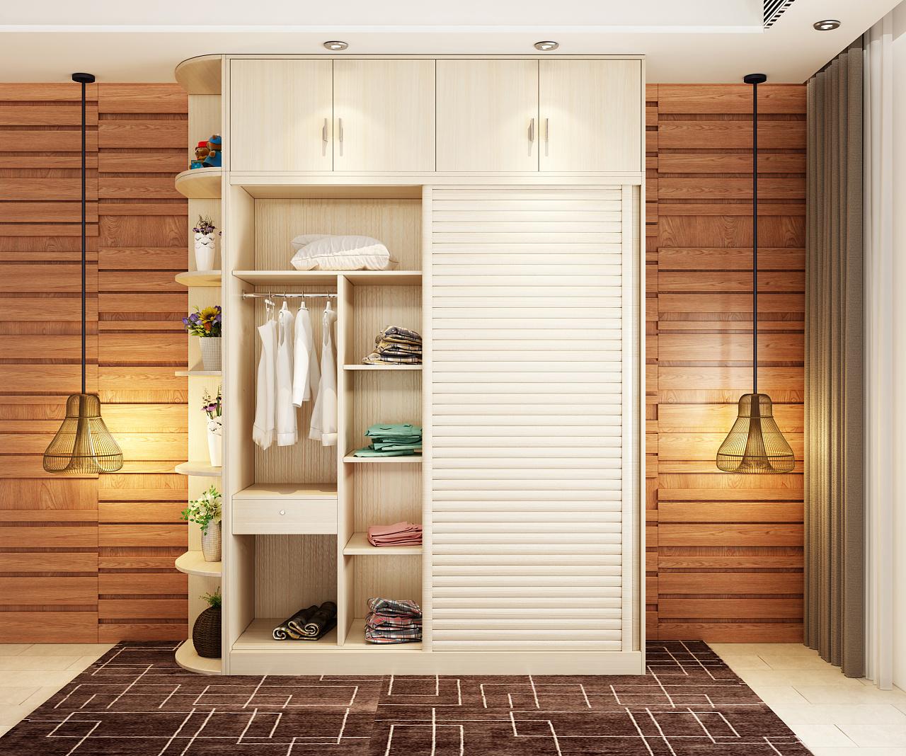 现代简约板式衣柜效果图