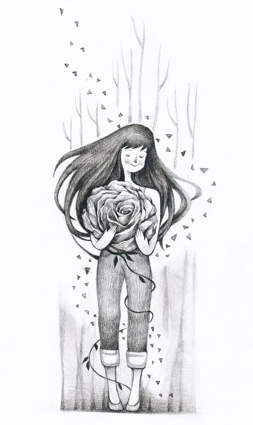 一组黑白铅笔画