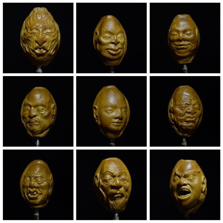 原创橄榄核手工雕刻作品《十八罗汉》图片