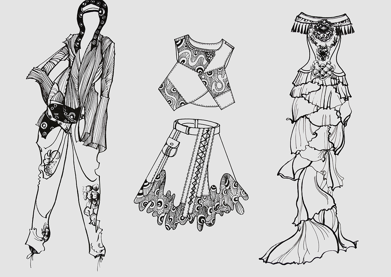 手绘服装设计稿.