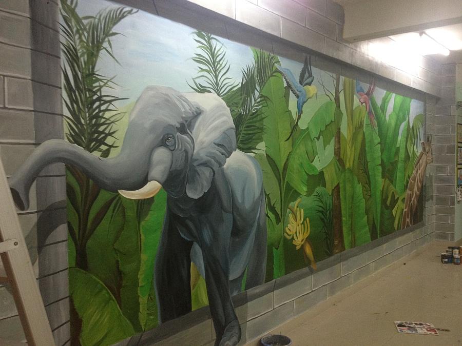 珠海壁画 原创 香洲华南名宇幼儿园3d《热带雨林》