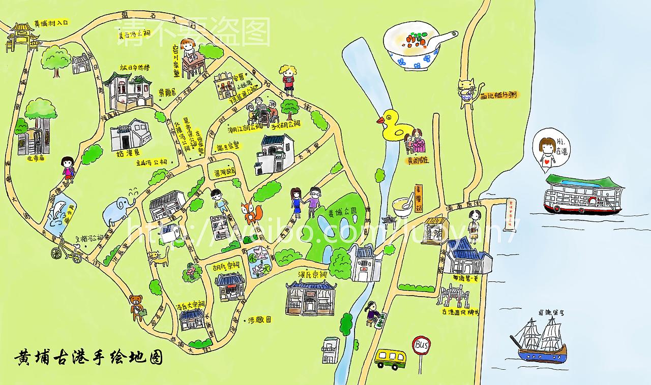 黄埔古港手绘地图|插画|插画习作|苏州河0 - 原创作品