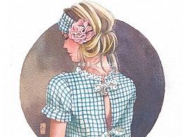 穿格纹的少女背面水彩过程