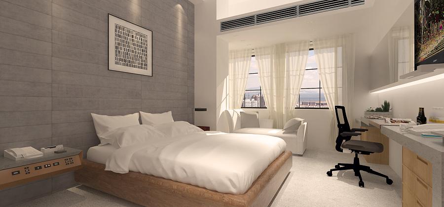 直线部分建筑的大师(客房)|室内设计|意义/渲染空间在家具设计中的草图图片