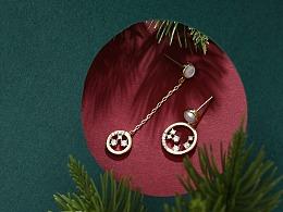 圣诞饰品 圣诞耳钉  鹿项链 圣诞场景 摄影场景
