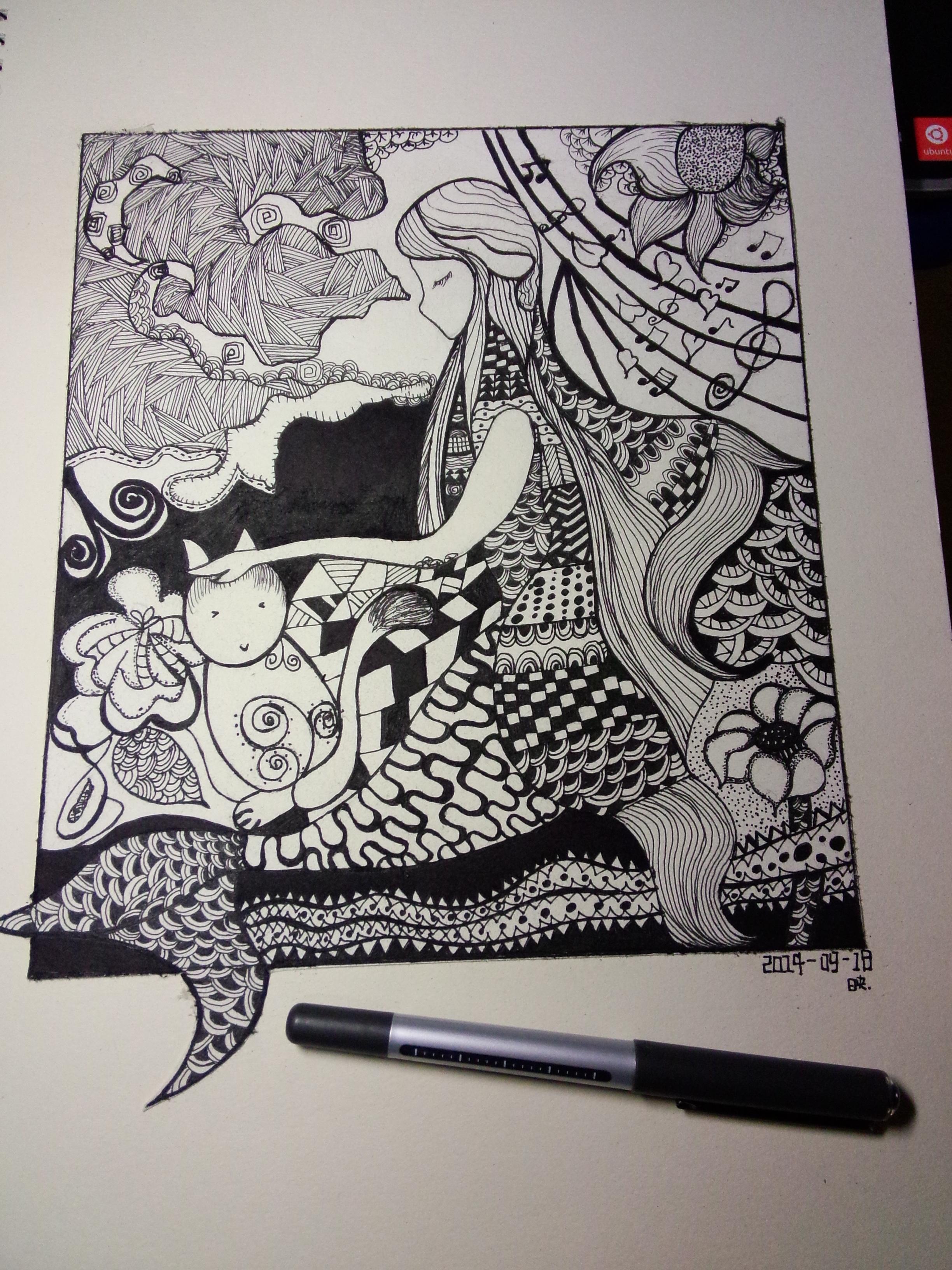黑白手绘|插画|其他插画|夏末夜未央 - 原创作品