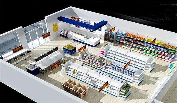 重庆超市装修设计效果图/便利店设计公司/超市设计施工图片
