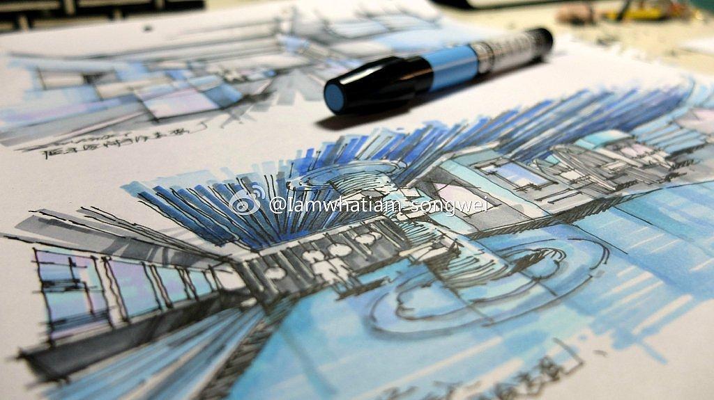 完全手绘临本系列,室内设计手绘表现,科普展厅室内手绘表现,马克笔