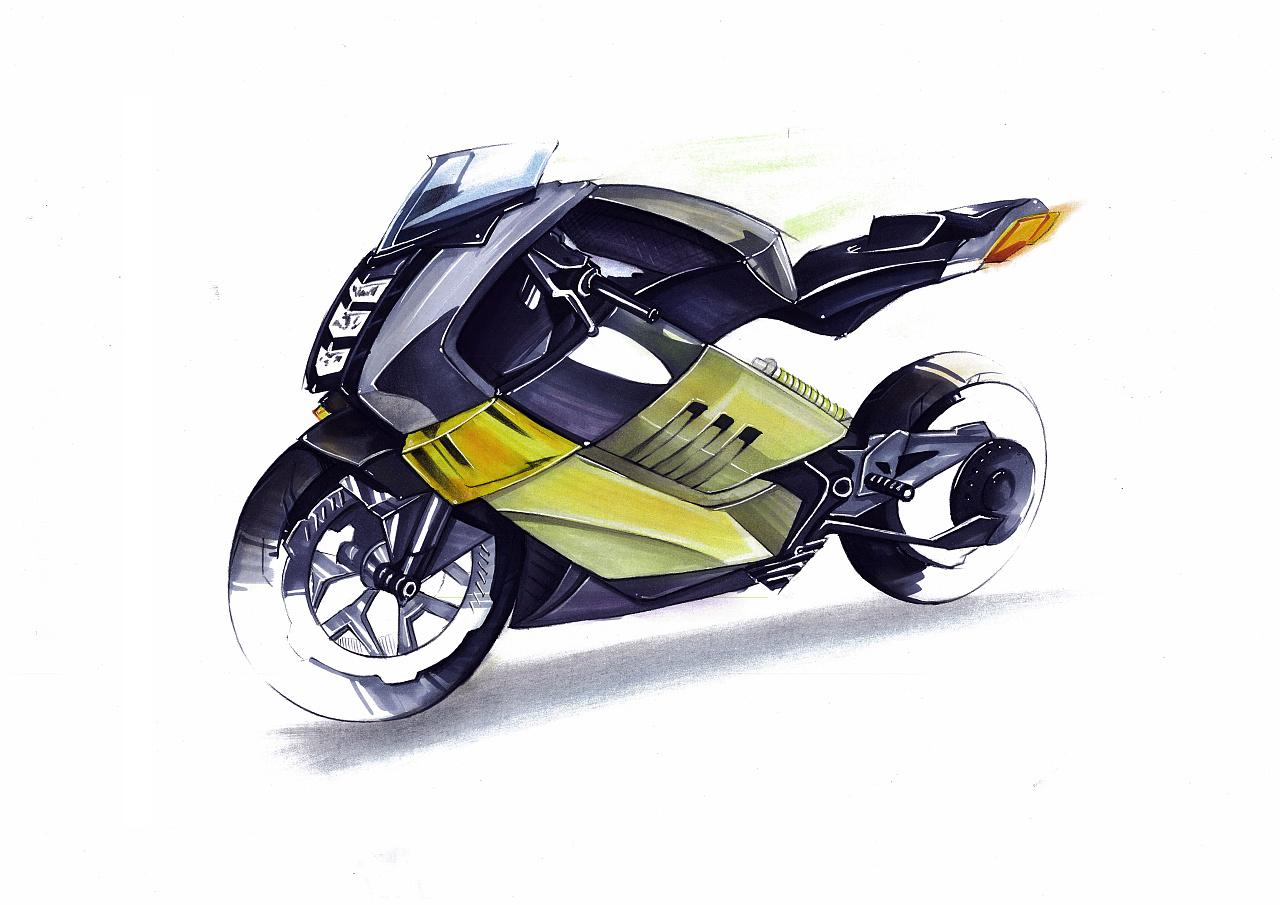 摩托车手绘步骤图|工业/产品|交通工具|智绘阁 - 原创