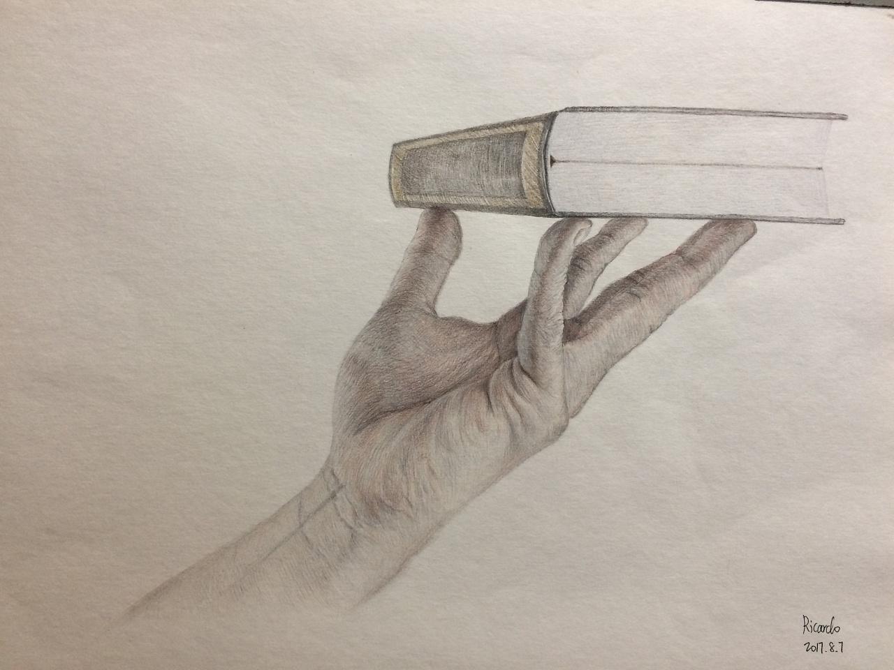 手绘彩铅画,托着书的手,素材来自网络.