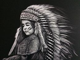 李子哥刮画作品《印第安小女孩》