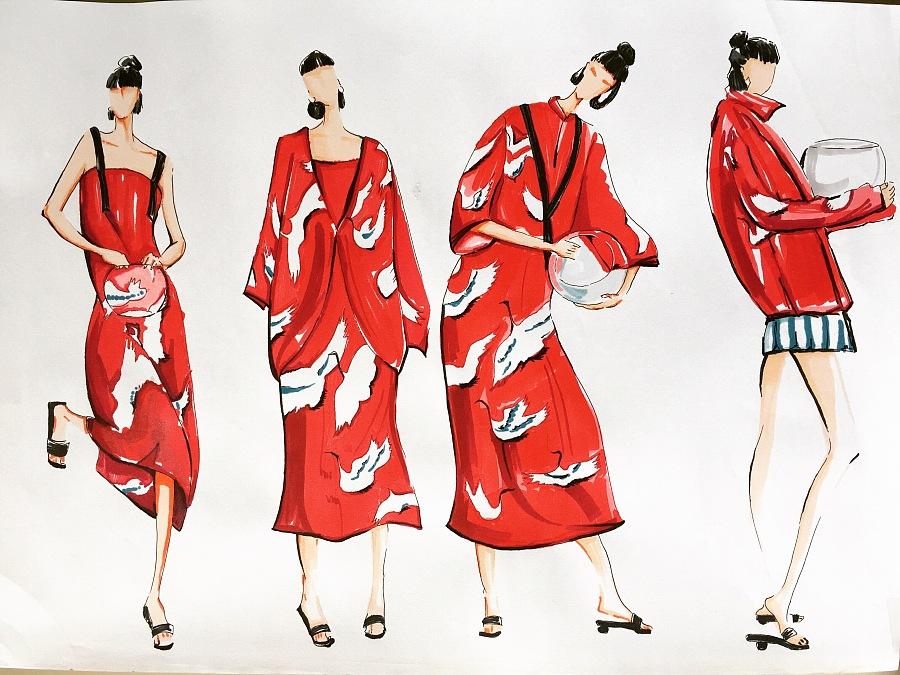 马克笔服装手绘作品.和风元素女装系列