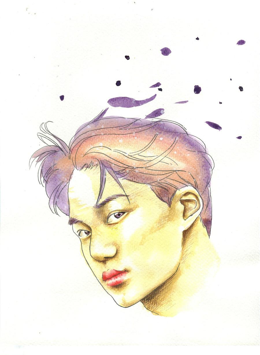 手绘人物插画|绘画习作|插画|扁扁鱼