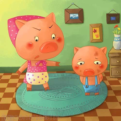 儿童故事绘画作品-明天插画新作 儿童故事系列 不爱洗澡的小猪 ,粉可