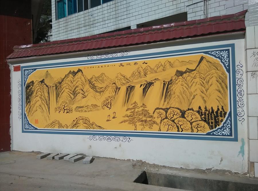 昆明墙体彩绘昆明墙画手绘公司昆明新农村建设彩绘文化墙壁画彩绘——