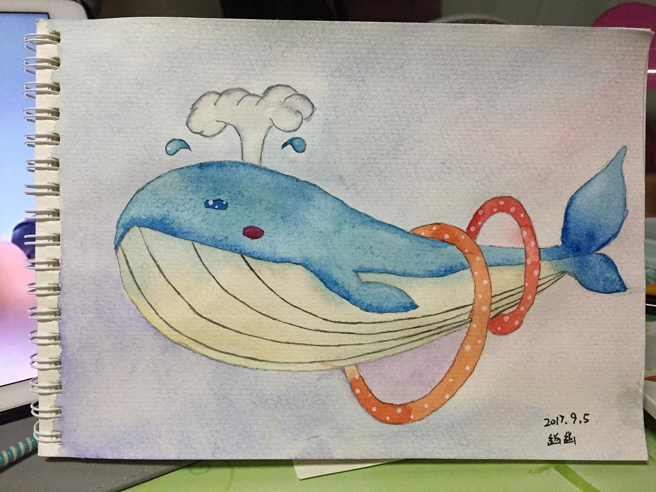 [水彩手绘] 鲸鱼