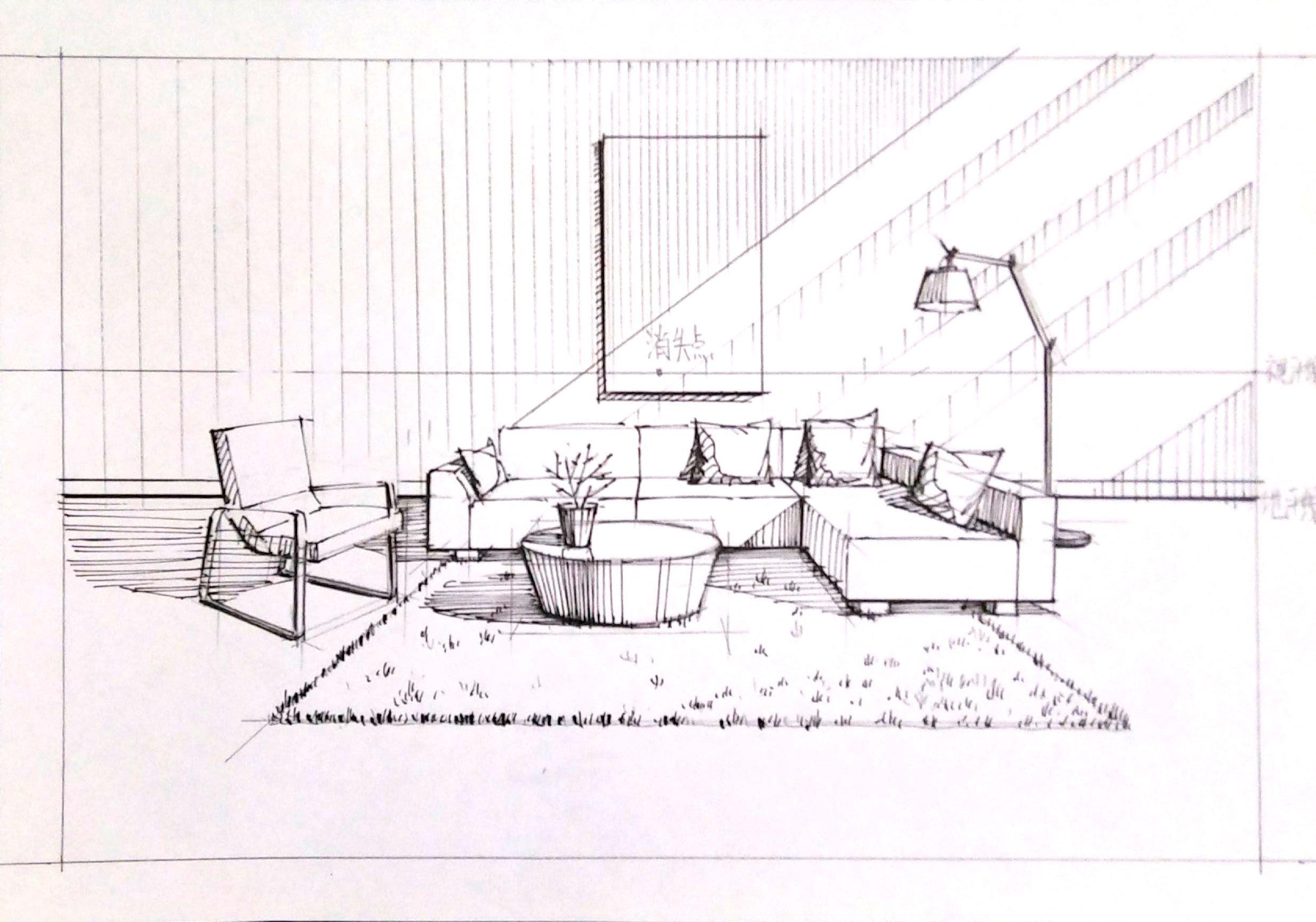 家具手绘_手绘家具组合表现|空间|室内设计|一叶手绘 - 原创作品 - 站酷 (ZCOOL)
