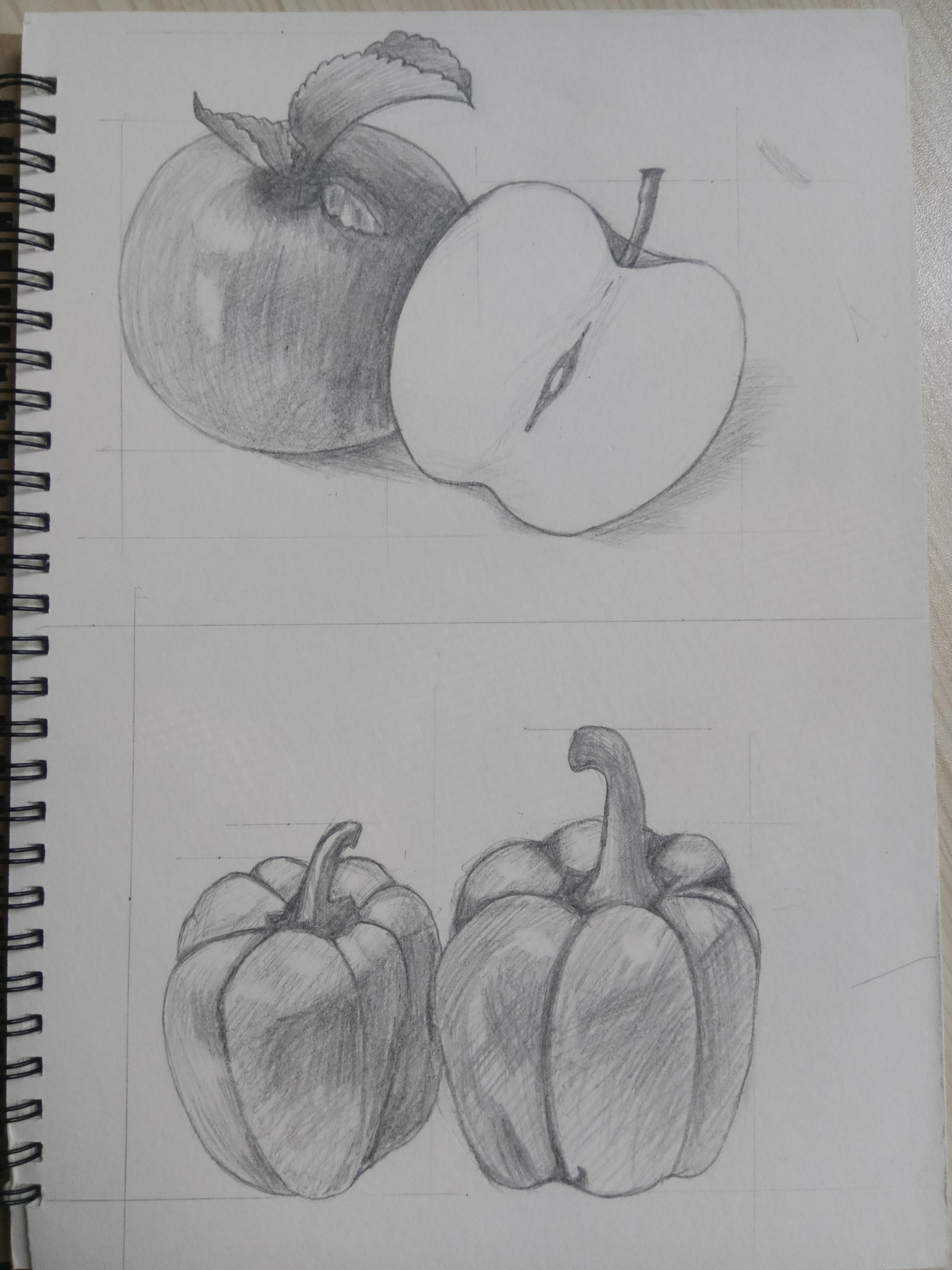 素描苹果和柿子椒图片