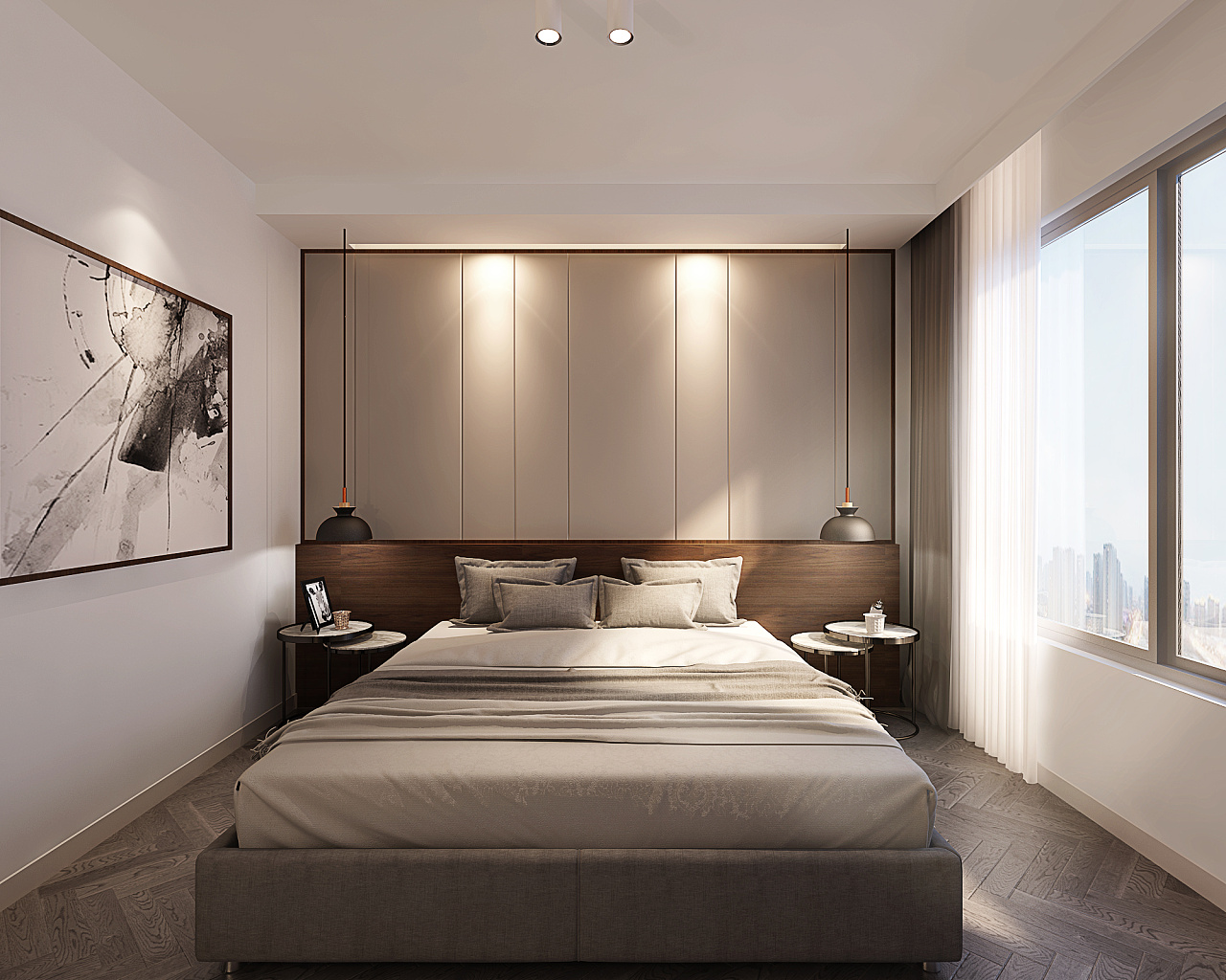 北京小二层卧室效果图    图片