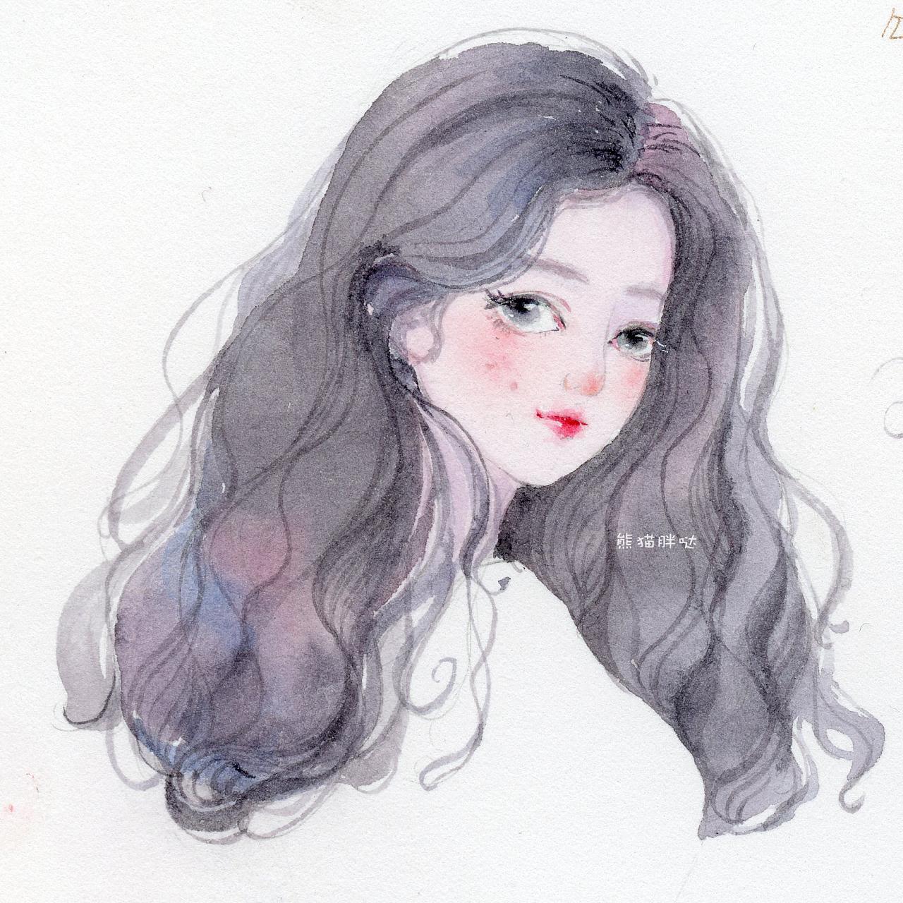 【小熊猫】水彩手绘人物水彩插画教程人物卡通头像手绘水彩头发教程