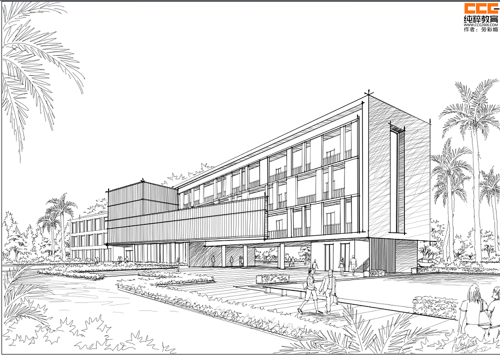 纯粹手绘教育建筑手绘新作|空间|建筑设计|纯粹手绘