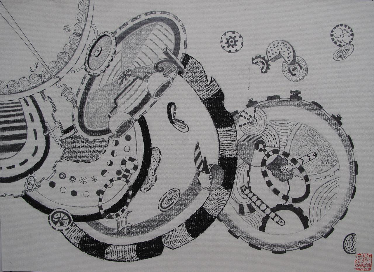 设计素描以表内齿轮零件为元素创意设计图片