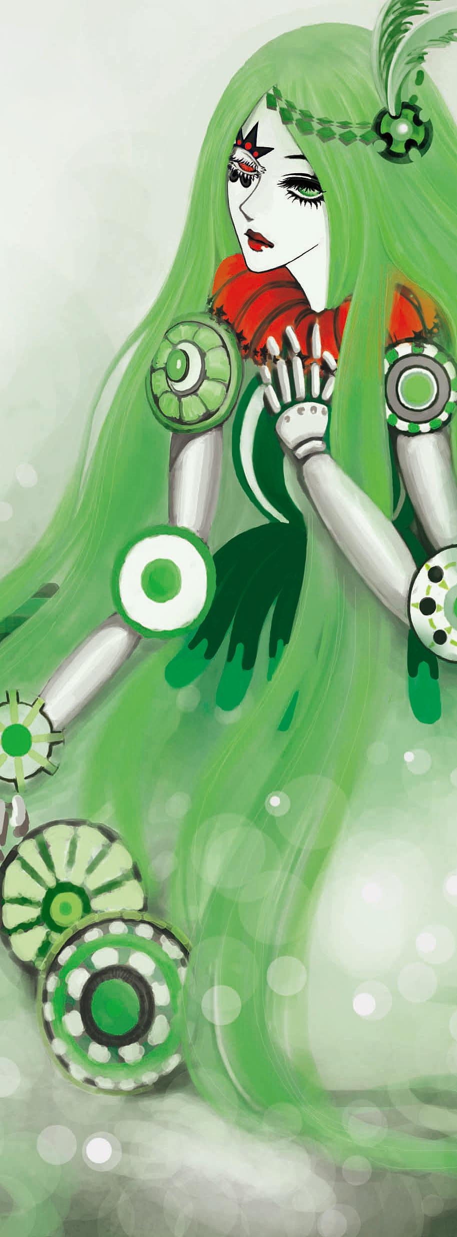 手绘板绿色悲伤木偶
