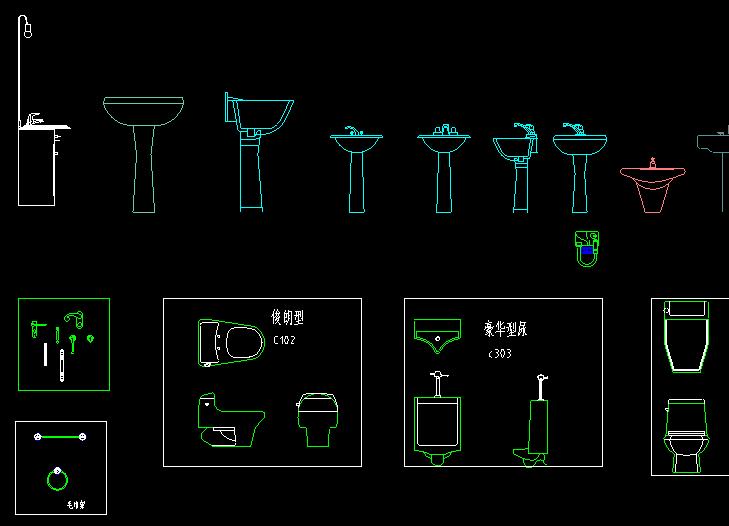 CAD卫生间画轴图块卫生间大全图块常用 v画轴何用如cad洁具圆测图片