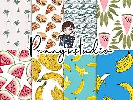 水波、西瓜、椰树、披萨汉堡等图案叠加.pat