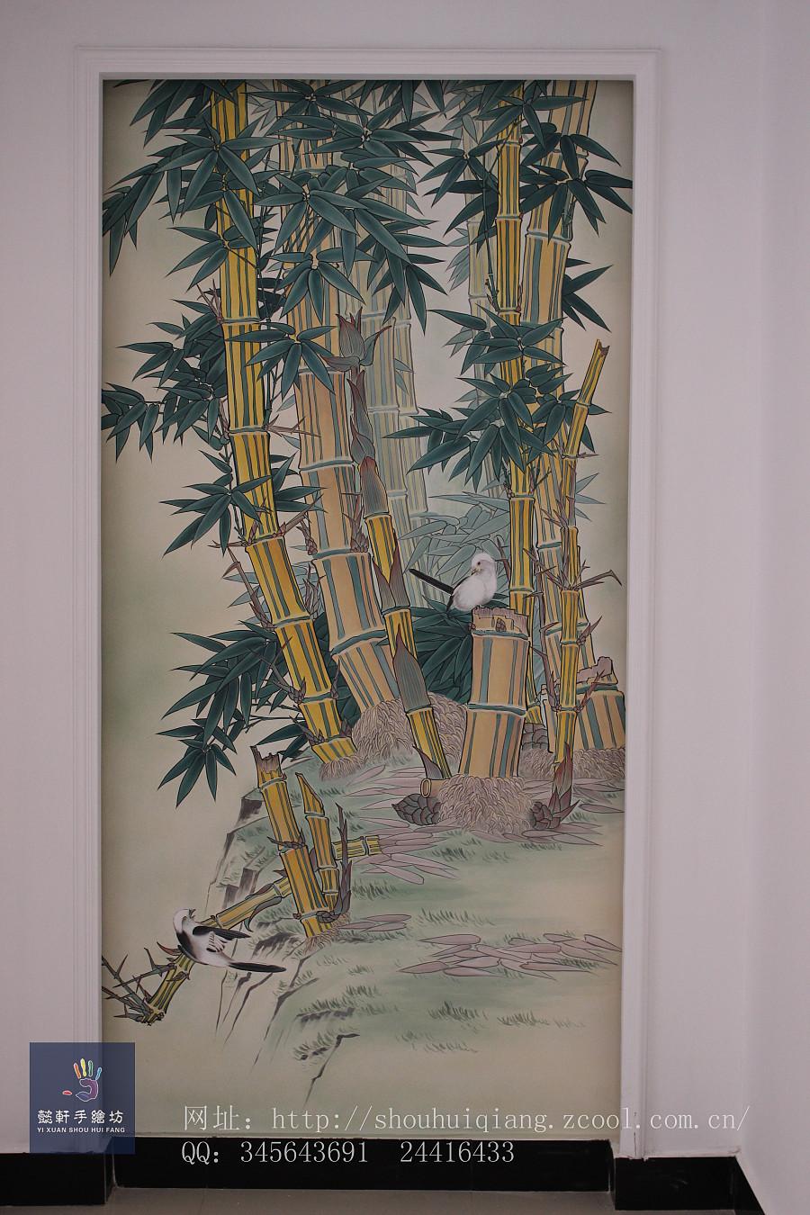 手绘墙 竹|墙绘/立体画|其他|懿轩手绘墙
