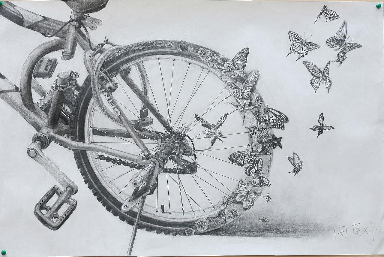 创意素描 重构 自行车图片